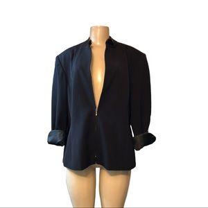 Style &CO WOMAN FRONT LONG ZIPPER BLACK JACKET.